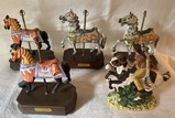 Lot of 4 Carousel Horses Music Boxes and American Indian Figurine