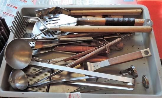 Heavy Duty Utensil Lot & Fiberglass Dough Tray