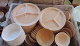 Carlisle Beige Divided Plates & AdCraft Divided Plastic Plates