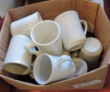 12 White Coffee Mugs