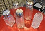 Large Lot Of Glass & metal Top Salt & Pepper Shakers
