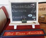 Chippy White Chalkboard Easel & God Bless America Sign