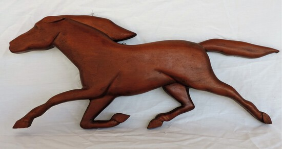 1966 Hand Carved Signed Wooden Horse