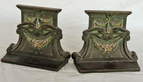 Pair of Roman Floral Design Bronze Bookends