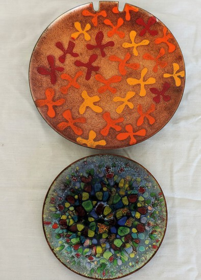Lot of 2 Enamel Plates