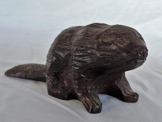 Vintage NC Hand-Carved Wooden Beaver