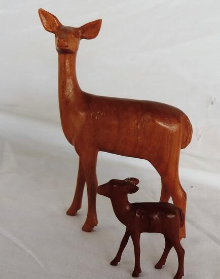 Lot of 2 Hand-Carved Wooden Deer