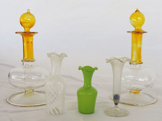 Lot of Hand-Blown Miniature Vases and Perfume Bottles