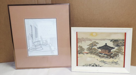 Print, Japanese Silk Picture & Vintage 50's Bed Cover