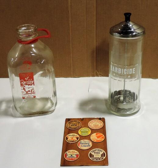Barbicide Barber Shop Jar & Cold painted 1/2 Gal. Bottle