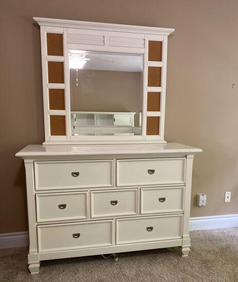 White Seven Drawer Dresser with Mirror