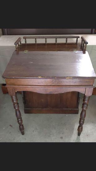 Vintage Writing Desk with Bookshelf on Back