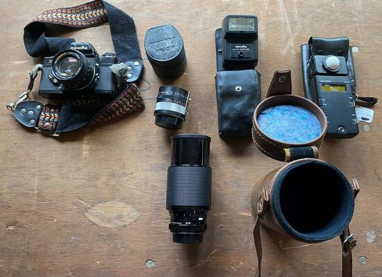 Minolta Zoom Lens & 35 MM Camera