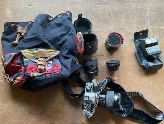 Minolta XG-7 35 MM Camera With 3 lenses & Flash