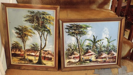 (2) - 1960's African signed painting on canvas, signed K. Caston