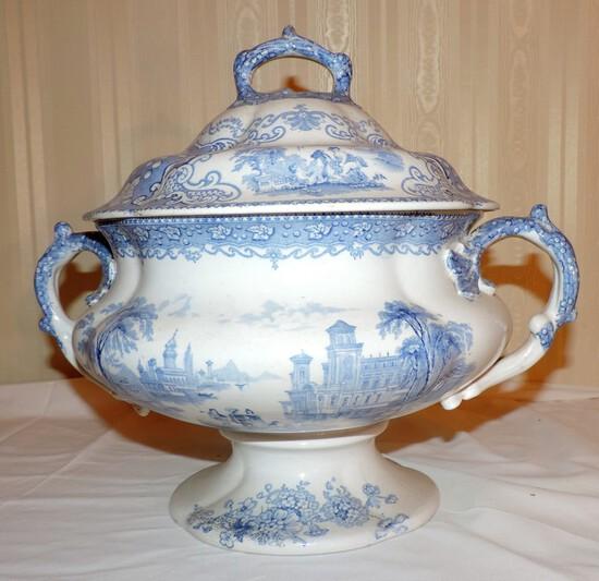 Original Italian Lakes Blue Transfer Ware Lidded Soup Tureen