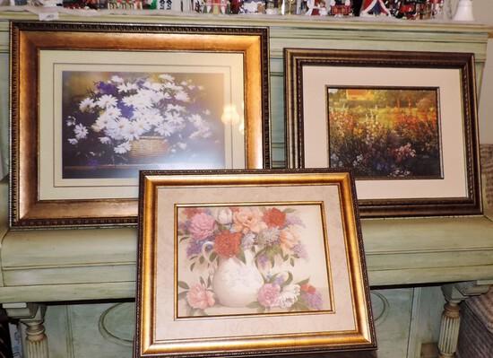 Three Framed Floral Prints