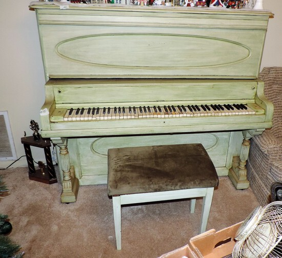 Antique Painted Upright Piano