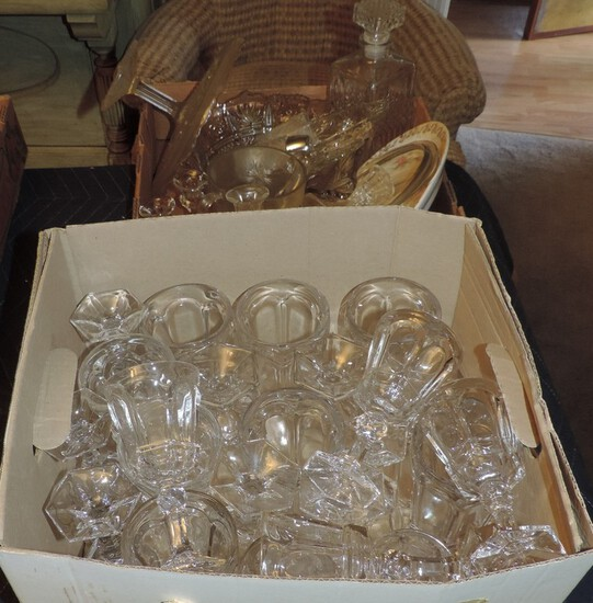 Large Lot Pressed Glass Stemware & More
