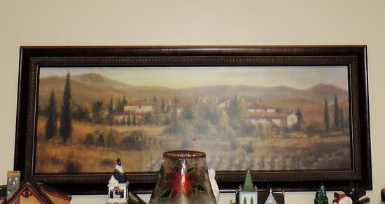 Italian Color Print In Frame With Matching Candle Sconces