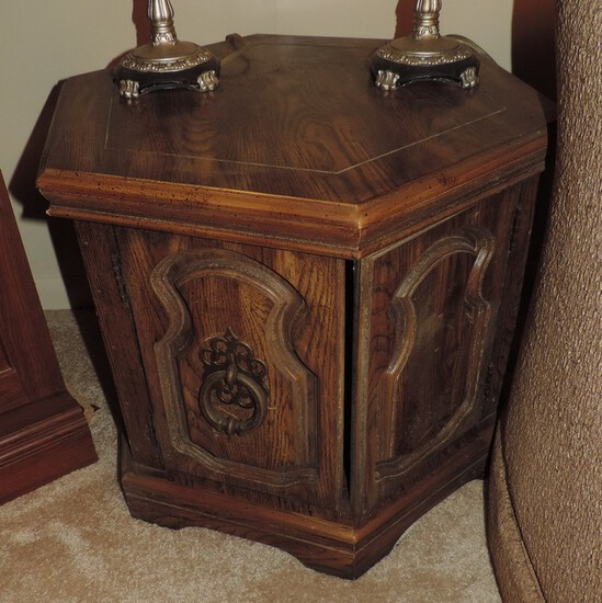Pair Of Vintage Hexagon End Tables & Coffee Table