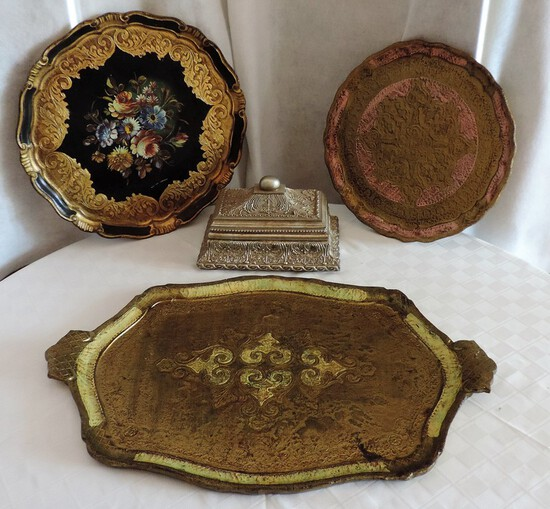 Lot Gold Trays and Box