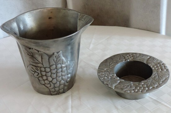 Pewter Wine Bucket and Holder