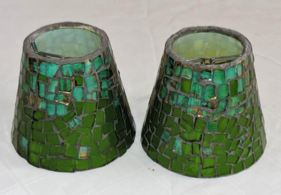 Pair of Glass Mosaic Clip Shades