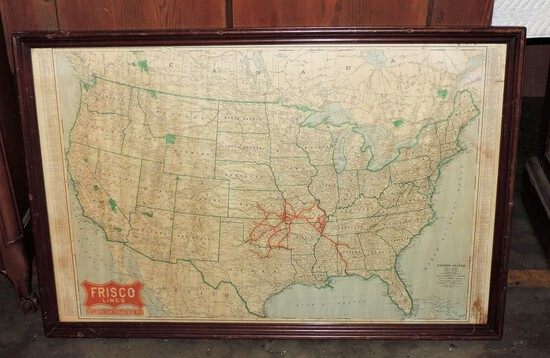 Frisco Lines Framed Railroad Map Of The United States