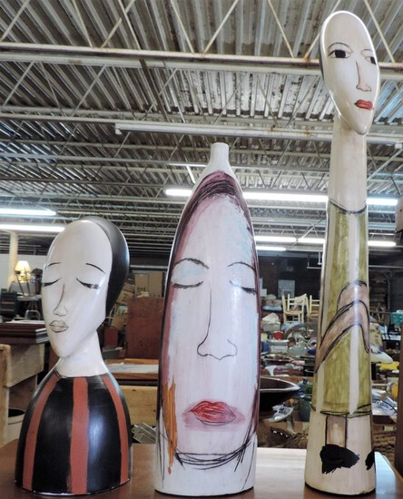 Lot Of 3 Folk Art Ceramic Sculptures