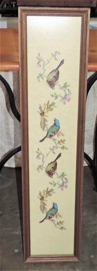 Framed Needlework Of Birds On Branches