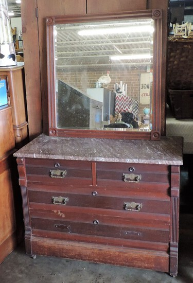 Victorian Eastlake Period Walnut Marble Top Chest With Mirror
