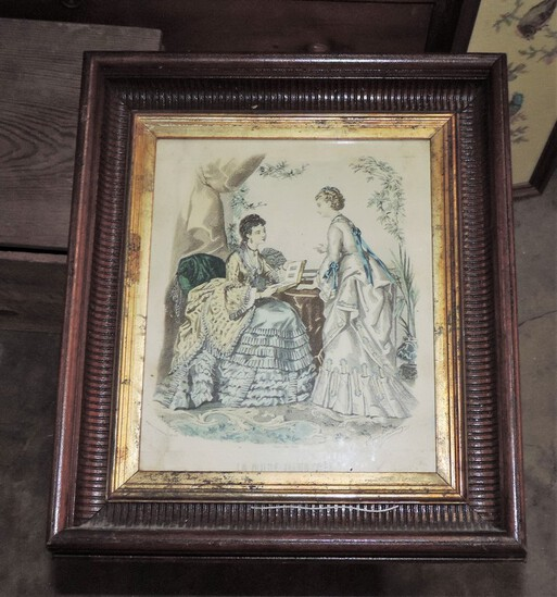 Hand-Colored La Mode Illustrated Fashion Print In Frame