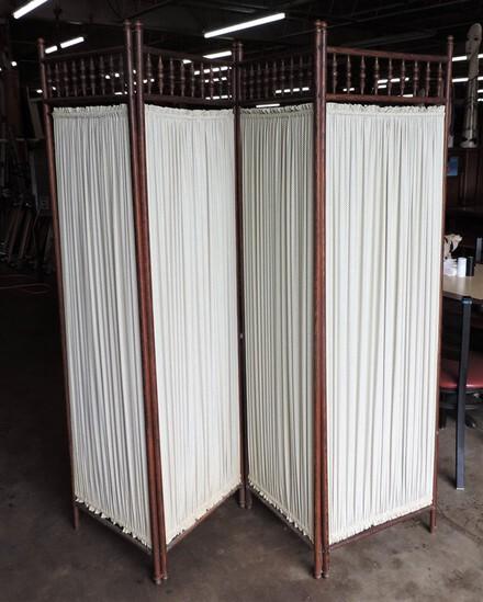 Oak Four-Panel Stick & Ball Victorian Folding Screen