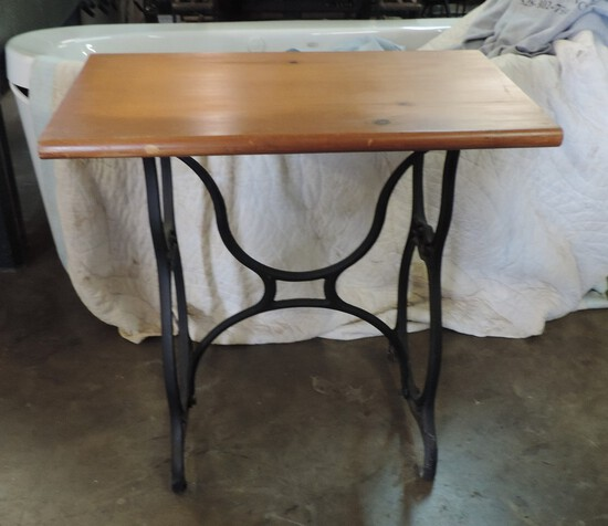 Cast Iron Treadle Sewing Table With Pine Top