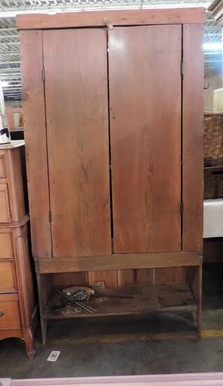 Two-Door Pine Antique Primitive Flat wall Cupboard