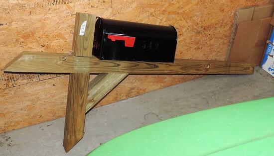 Black Metal Mailbox With Wood Post