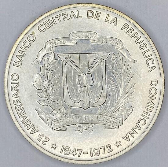 1972 Dominican Republic Silver Peso