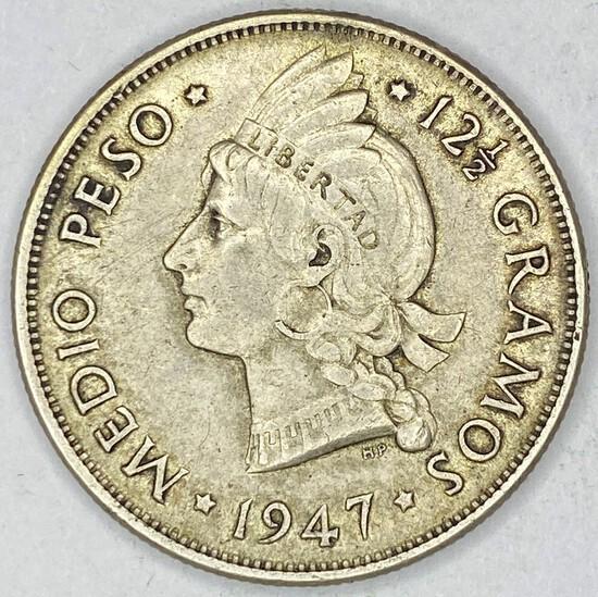 1947 Dominican Republic Silver 1/2 Peso