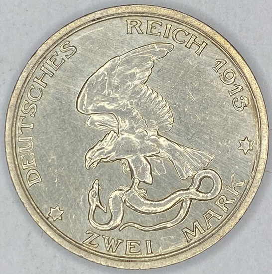 1913 Prussia Silver 2 Mark 1 Year Type