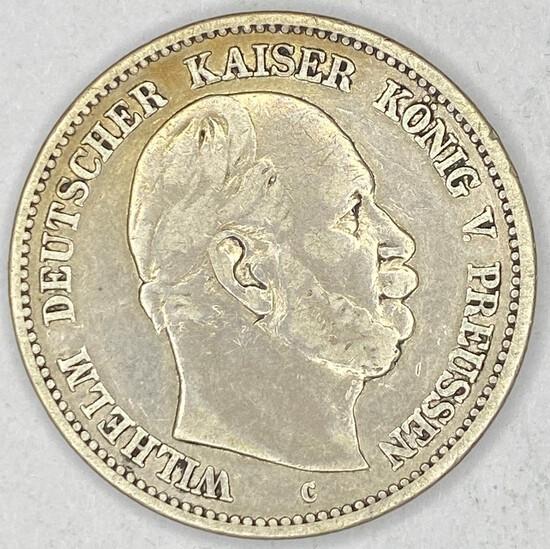 1877c Prussia Silver 2 Mark