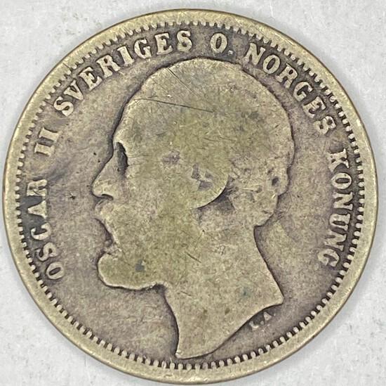 1875 Sweden Silver 1 Krona