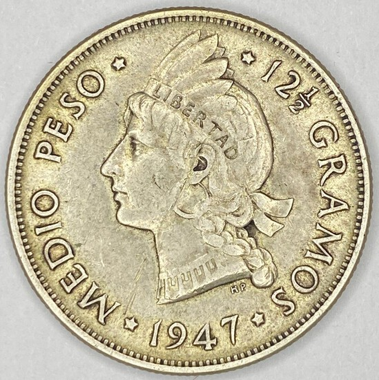 1947 Dominican Republic Silver Half Dollars