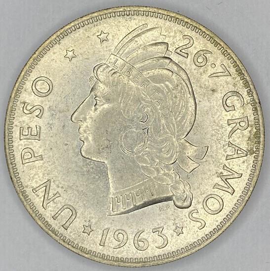 1963 Dominican Republic Silver Peso UNC