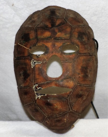 Unique Antique Face Mask Made From Shell Of Turtle