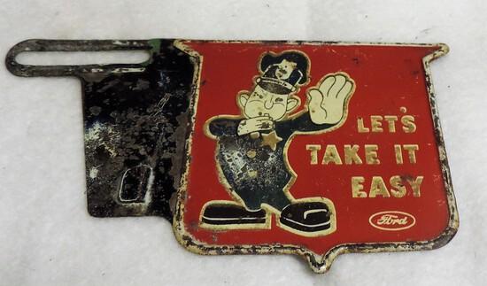 Cool Vintage Metal Ford License Plate Tag Top