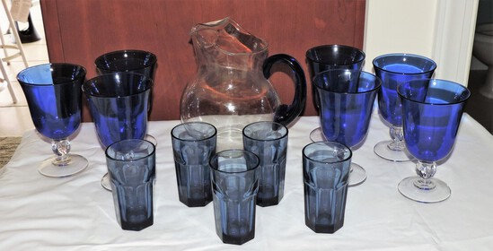 Blue Stemware and Pitcher