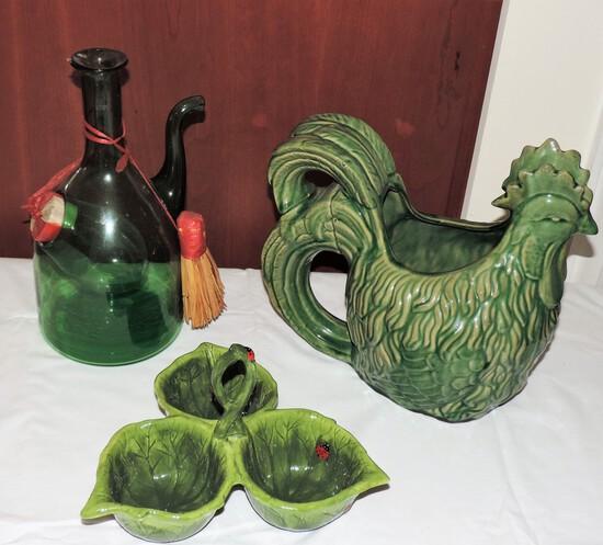 Lot of green dish wares