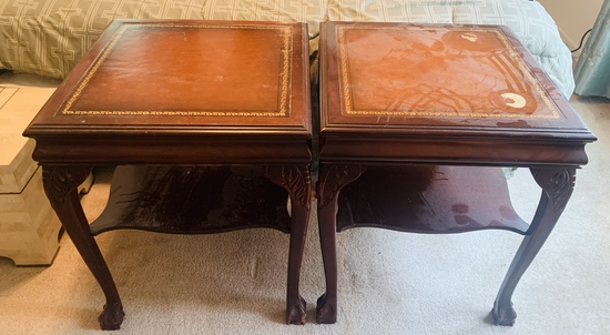 Pair of Leather Topped End Tables