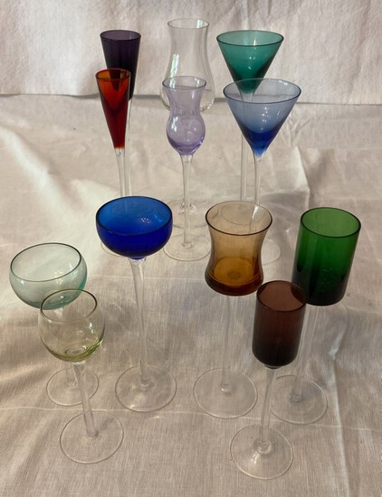 13 Pc Lot Colored Glass Footed Cordials